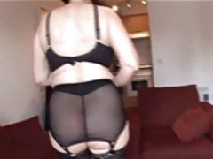 Hairy Pussy Framed By Girdle And Stockings