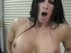 Big Clit Muscle Woman Rides A Big Dildo