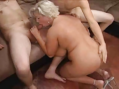 Fat Mature Blonde Having A Treesome By TROC
