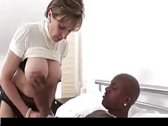 British Lady In Stockings Takes Black Cock.